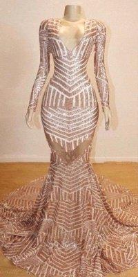 Mermaid Long Sleeves V-neck Sequined Sweep Train Prom Dresses_4