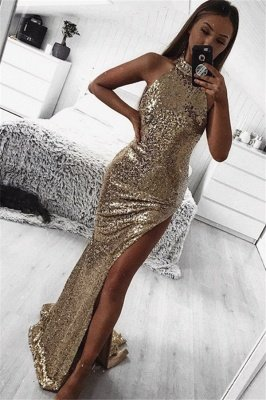 Gold Sheath Halter Sleeveless Side Slit Sequins Sexy Long Prom Dress