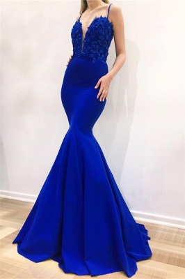 Gorgeous Mermaid Spaghetti Straps Sleeveless Appliques Long Prom Dress