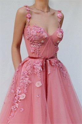 Pink Gorgeous A-line Spaghetti  Flower Applique Long Prom Dress_2