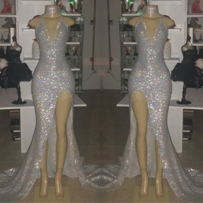 Cheap Mermaid V-neck Sequins Floor Length Front Slit  Prom Dresses_3