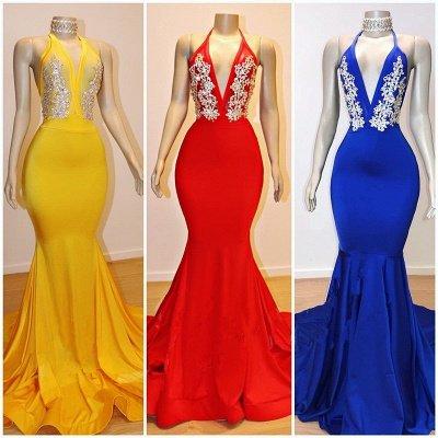 2019 Cheap V-Neck Mermaid Appliques Prom Dresses   Elegant Halter Sleeveless Evening Dresses_2