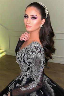 Deep V-Neck Long Sleeves Appliques Overskirt Black Ball Gown Long Prom Dress_2