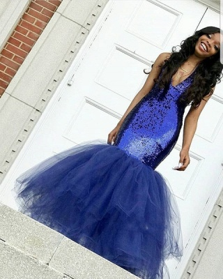 Sexy Navy Blue Mermaid Sequins Prom Dresses | Cheap  Sleeveless V-Neck Evening Dresses_4