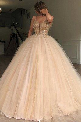 Glamorous Ball Gown Spaghetti Straps Sleeveless Beaded Champagne Wedding Dress_1