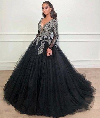 Deep V-Neck Long Sleeves Appliques Overskirt Black Ball Gown Long Prom Dress_3