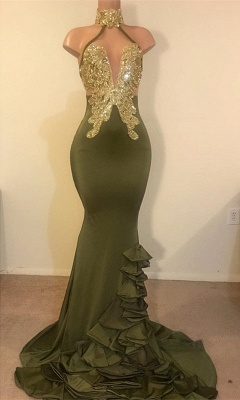 Elegant Sheath High Neck Ruffles Sequins Long Prom Dress_1