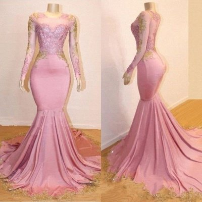 Pink Appliques Long Sleeves Prom Dresses | 2019 Gorgeous Mermaid Evening Gowns_4
