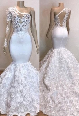 One Shoulder Lace Appliques Meramid Prom Dresses with sleeve_2