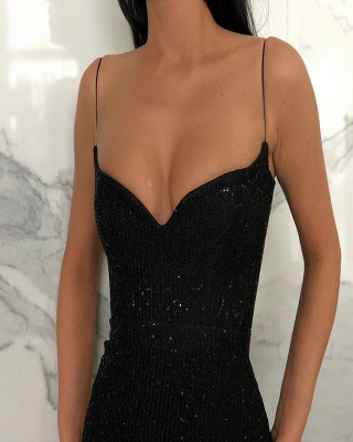 Sheath Spaghetti Straps Open Back Sequins Black Long Prom Dress_2