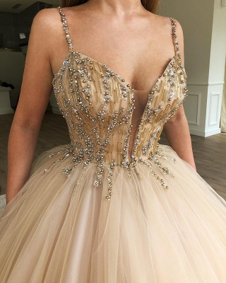 Glamorous Ball Gown Spaghetti Straps Sleeveless Beaded Champagne Wedding Dress_2