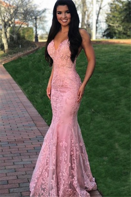 Pink Gorgeous Mermaid Sleeveless Lace Applique Long Prom Dress_1