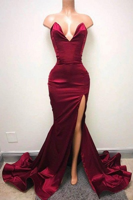 Simple Burgundy Mermaid Prom Dresses Sweetheart Neck Side Split Evening Gowns_2