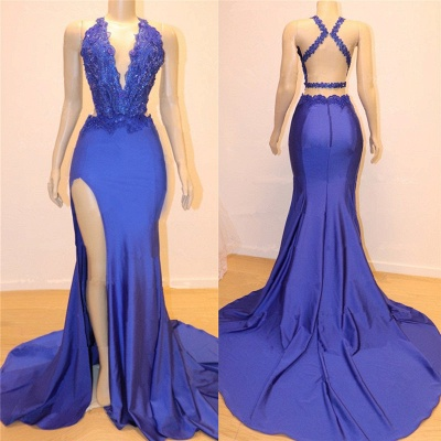 Sexy V-neck Sexy Open back Side Slit Prom Dresses Cheap | Elegant Royal Blue Mermaid Beads Lace Evening Gowns_2