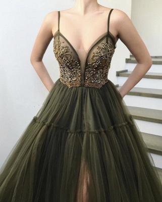 Elegant Side Slit Spaghetti Straps  Long Prom Dress_4