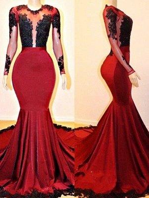 Long Sleeves Mermaid Appliques Sheer Prom Dresses_1