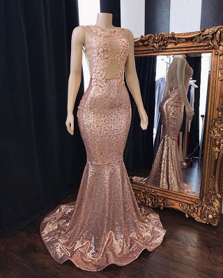 Pink Sequins Appliques Mermaid Prom Dresses | 2019 Sleeveless Sheer  Evening Gowns_2