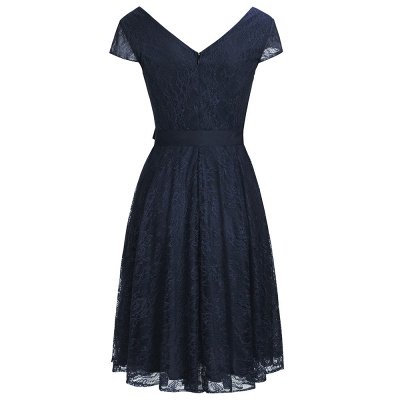 A-line Short Sleeves V-neck Lace Dresses with Bow Sash_4