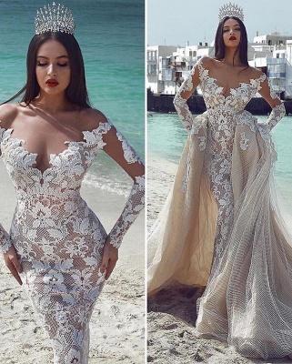 Glamorous V-Neck Long Sleeves  Applique Overskirt Wedding Dress_2
