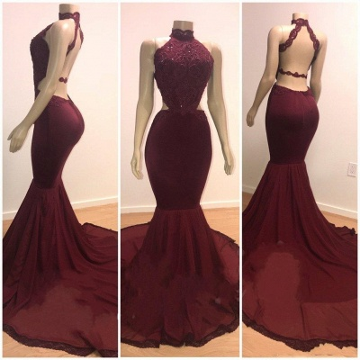 Lace Top High Neck Mermaid Long Burgundy Prom Dresses_3