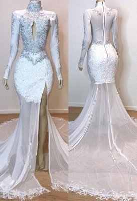 White Stunning Lace Long Sleeves Prom Dresses | 2019 Sheer  Slit Mermaid Evening Gowns_3