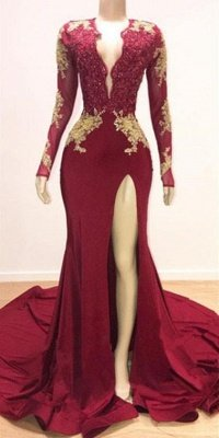 Deep V-neck Long Sleeves Lace Appliques Split Mermaid Evening Gowns_3