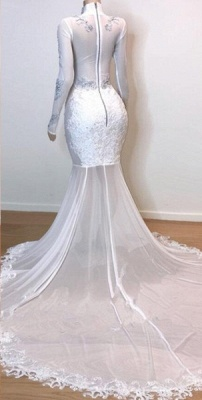 White Stunning Lace Long Sleeves Prom Dresses | 2019 Sheer  Slit Mermaid Evening Gowns_2