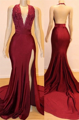 Sexy Backless Burgundy Prom Dresses with Slit | V-neck Halter Affordable Evening Gowns with Court Train_1