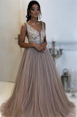 Elegant A-line Sleeveless Applique Tulle Long Prom Dress