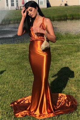 Sexy Sleeveless Spaghetti Straps V-neck Mermaid Long Prom Dress_3