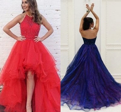 Prom Dresses Low Halter Beading A-Line Brilliant  High Evening Dresses_3