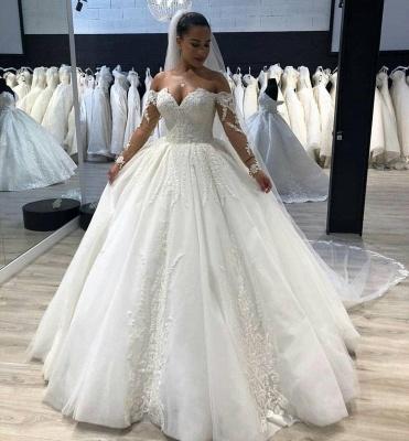 Gorgeous Tulle Sweetheart Long Sleeves Long Wedding Dress_2