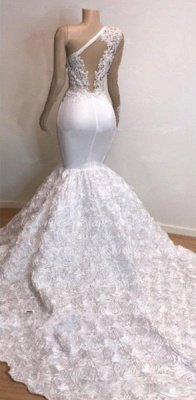 One Shoulder Lace Appliques Meramid Prom Dresses with sleeve_4
