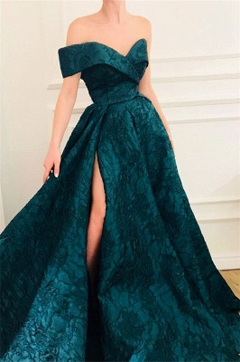 Elegant A-Line Off The Shoulder Lace Evening Dresses_1