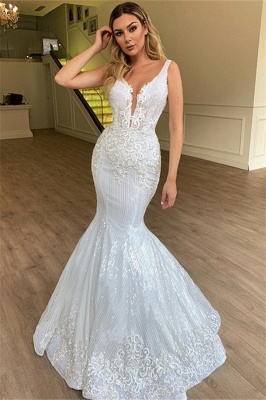 Glamorous Mermaid Sheer Straps Sleeveless Appliques Tulle Long Wedding Dress