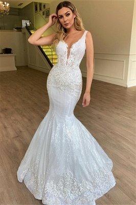 Gorgeous Mermaid Sheer Straps Sleeveless Appliques Tulle Wedding Dress_1
