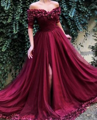 Burgundy A-line Off The Shoulder  Flower Applique Long Prom Dress_2