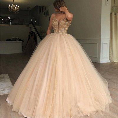 Glamorous Ball Gown Spaghetti Straps Sleeveless Beaded Champagne Wedding Dress_3