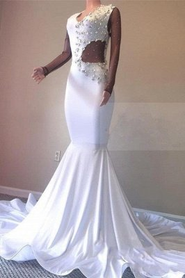 Crystal Beading White V-neck Sweep Train Mermaid Evening Gowns_1