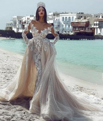 Glamorous V-Neck Long Sleeves  Applique Overskirt Wedding Dress_3
