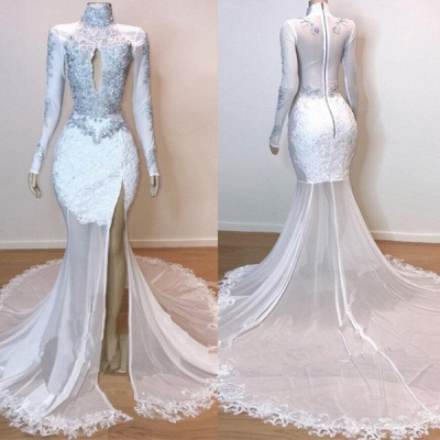 White Stunning Lace Long Sleeves Prom Dresses | 2019 Sheer  Slit Mermaid Evening Gowns_4
