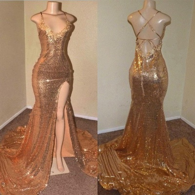 Sequins Sleeveless Front Slit Floor Length Mermaid Dresses_2