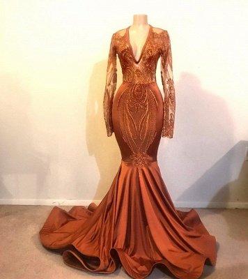 Glamorous Mermaid V-neck Long Sleeves Long Prom Dress_2