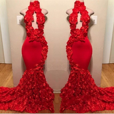 Sexy Flowers Halter Sleeveless Long Prom Dresses | 2019 Red Keyhole Mermaid Evening Gowns_2
