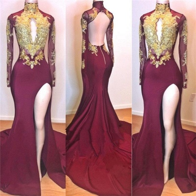 Burgundy Gold Appliques Evening Gowns | Long Sleeves Side Slit Open Back Mermaid Prom Dresses_2