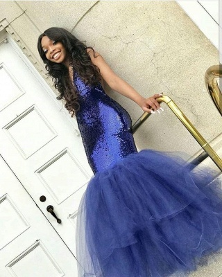 Sexy Navy Blue Mermaid Sequins Prom Dresses | Cheap  Sleeveless V-Neck Evening Dresses_5