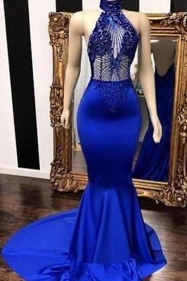 Royal Blue Halter Sleeveless Lace Beading Mermaid Long Prom Dresses_1