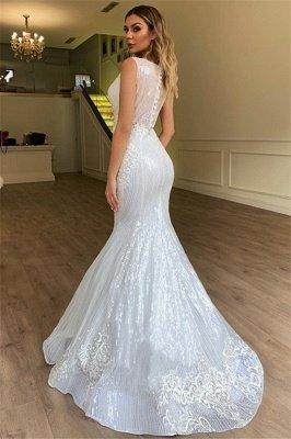 Gorgeous Mermaid Sheer Straps Sleeveless Appliques Tulle Wedding Dress_2