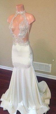 Halter Sleeveless Sheer Appliques High Neck Mermaid Prom Dresses_3