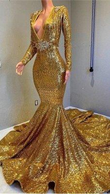 Gorgeous Mermaid Sequins Long Sleeves Floor Length Prom Dresses_2